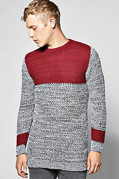 Longline Panelled Sweater In Mixed Colour