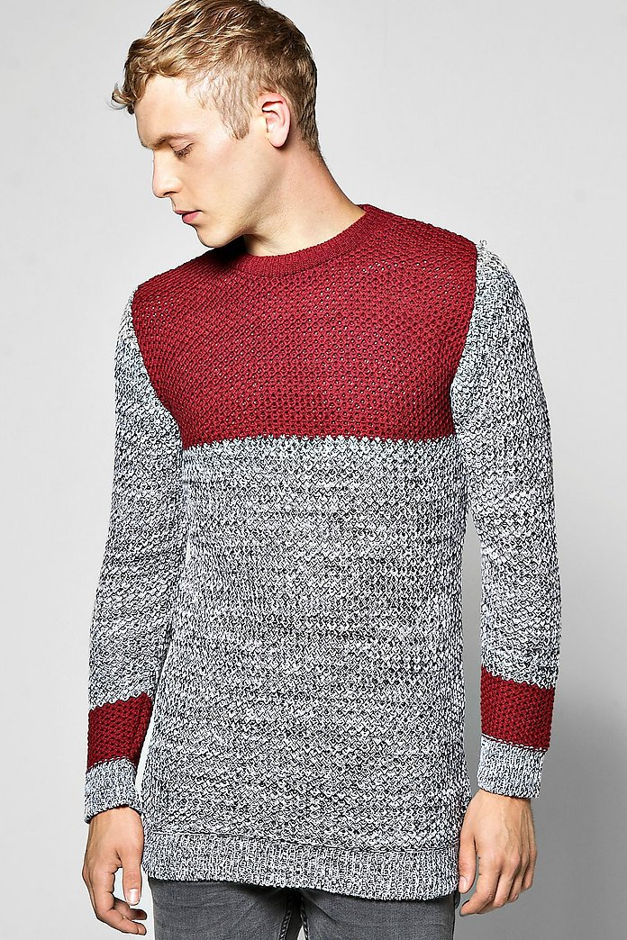 Longline Panelled Jumper In Mixed Colour