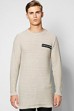 Longline Textured Sweater With Zip Front Pocket