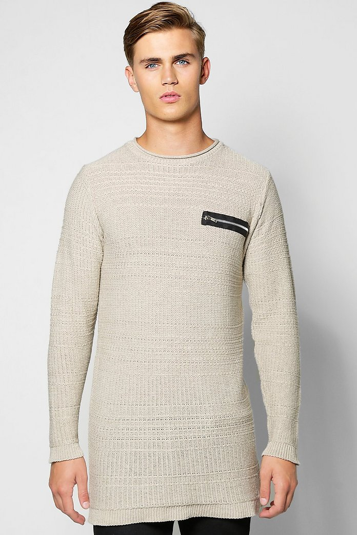 Longline Textured Jumper With Zip Front Pocket