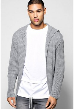 Hooded Longline Fisherman Stitch Cardigan