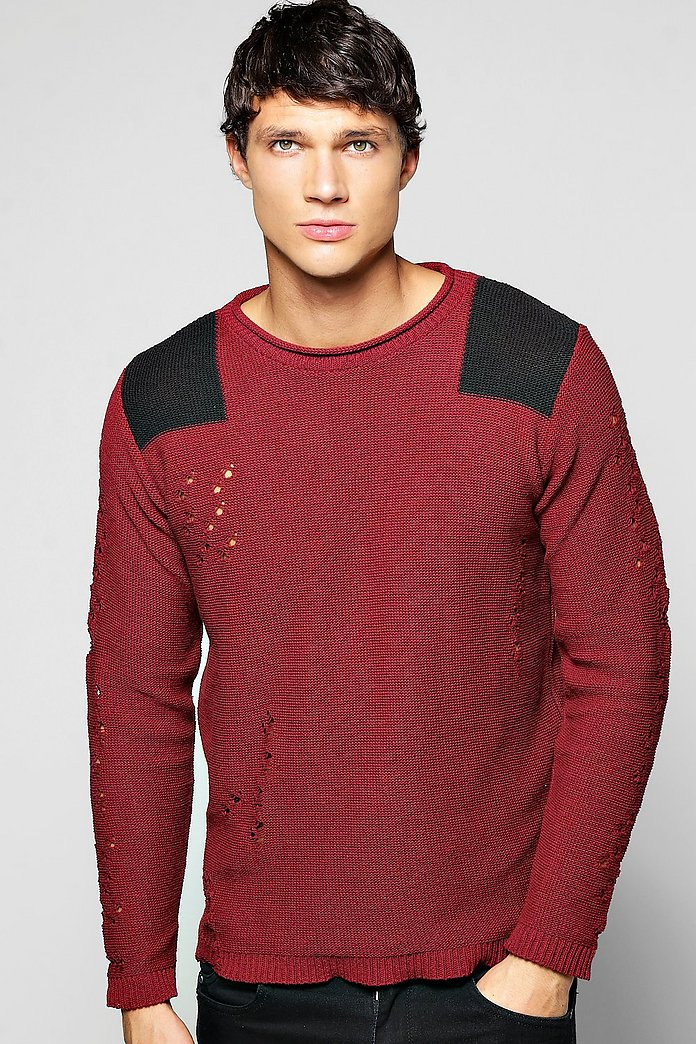 Destroyed Crew Neck Jumper With Shoulder Patches