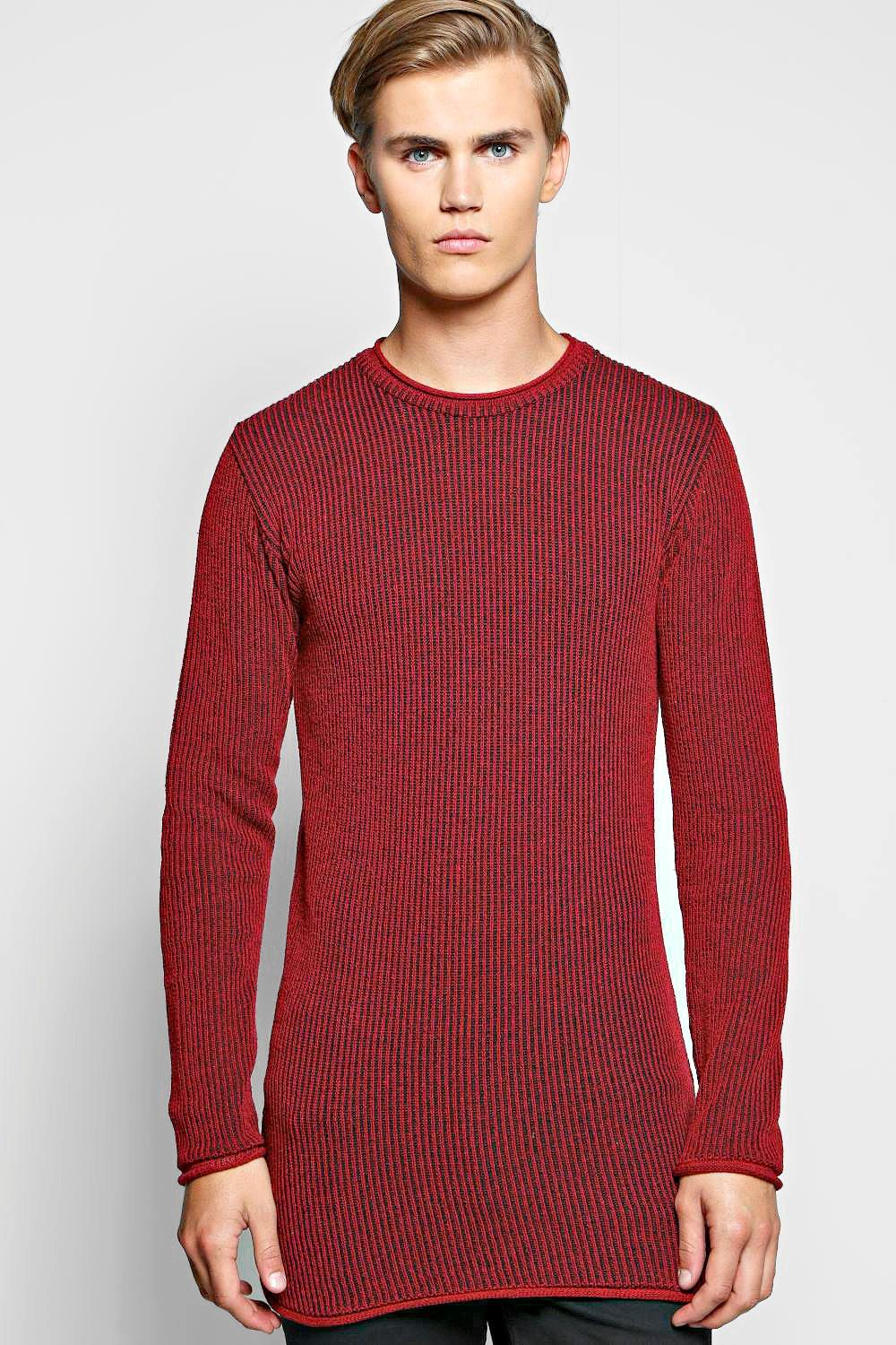 Muscle Fit Two Tone Ribbed Longline Sweater