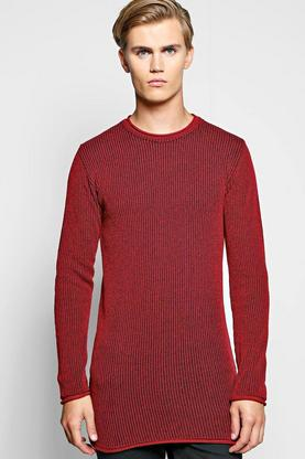 Muscle Fit Two Tone Ribbed Longline Sweatshirt