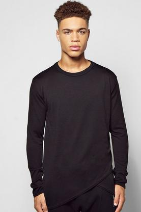 Long Sleeve Curved Front Hem Knitted T Shirt