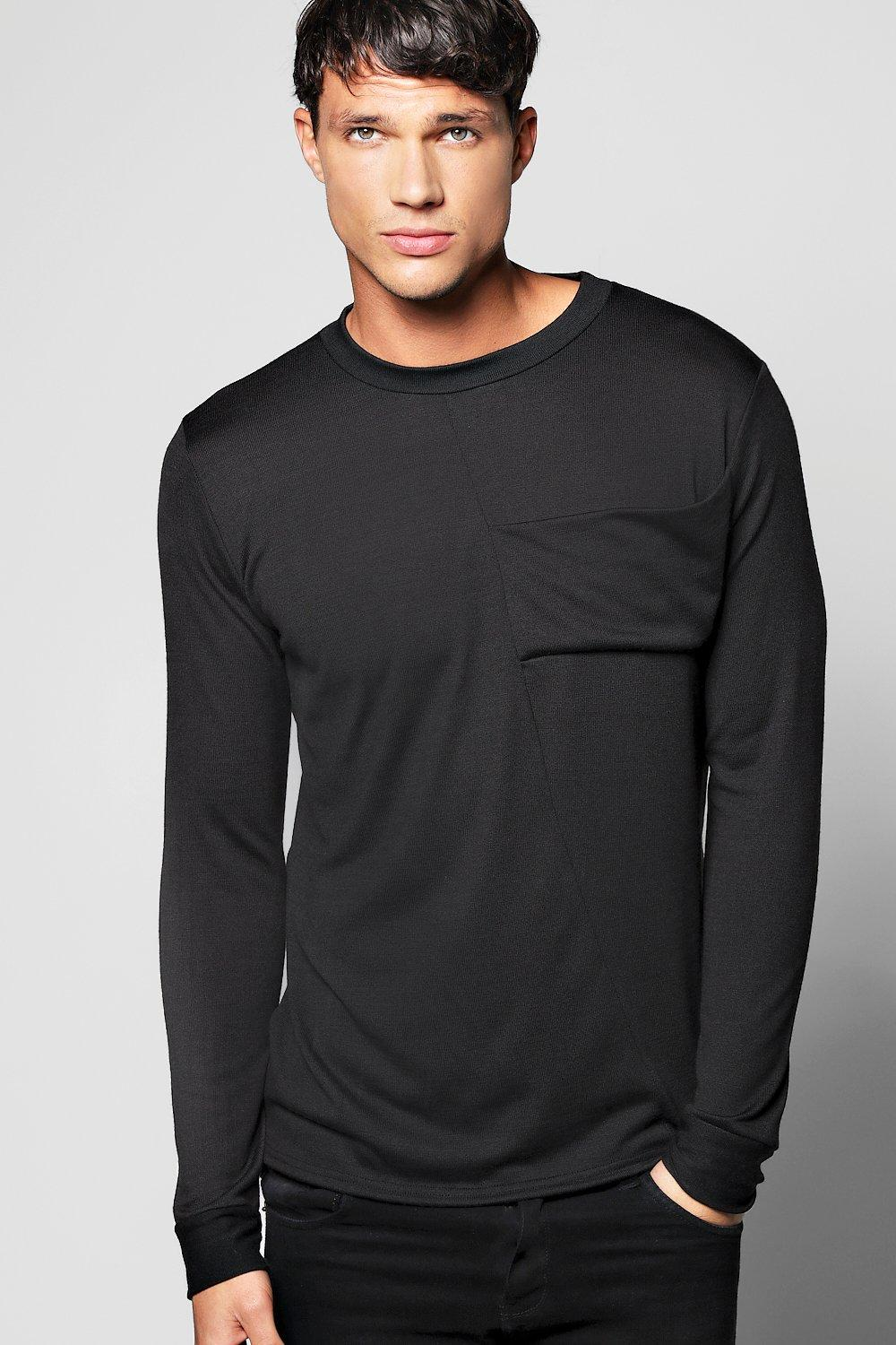 Cut And Sew Panel Long Sleeve Knitted T Shirt