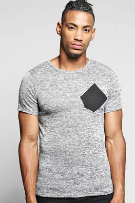 Space Dye Knitted T Shirt With Contrast Pocket