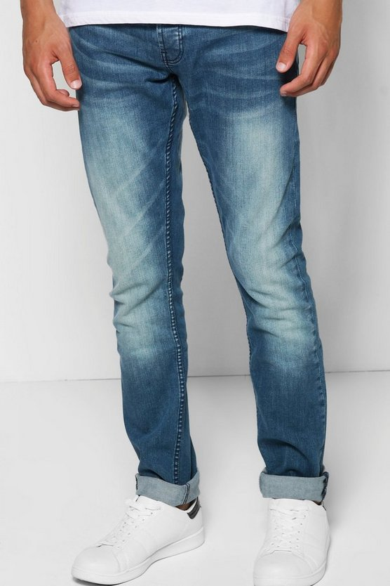 Slim Fit Mid Blue Washed Jeans