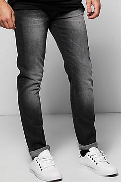 Slim Fit Charcoal Jeans With Sandblasting