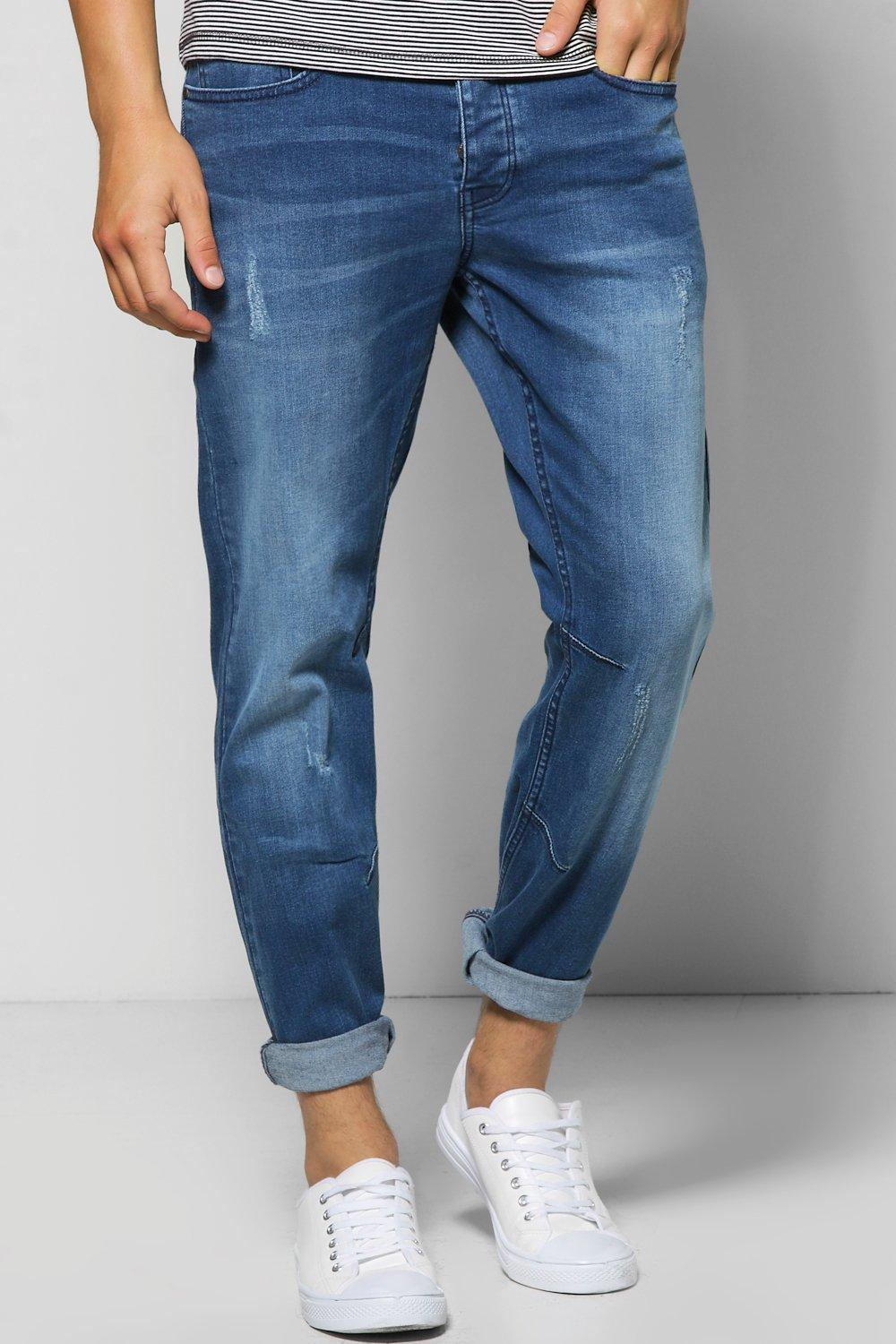 Slim Fit Blue Jeans With Sandblasting And Abrasions