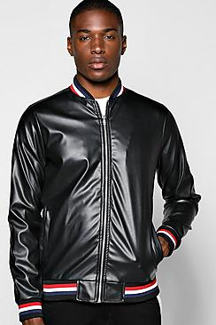 All Over PU Varsity Jacket With Sports Rib