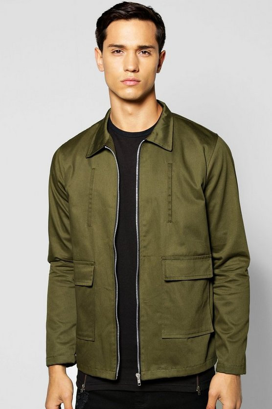 Double Pocket Zip Through Lined Jacket