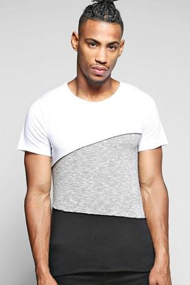 Spliced T Shirt With Mix Fabric