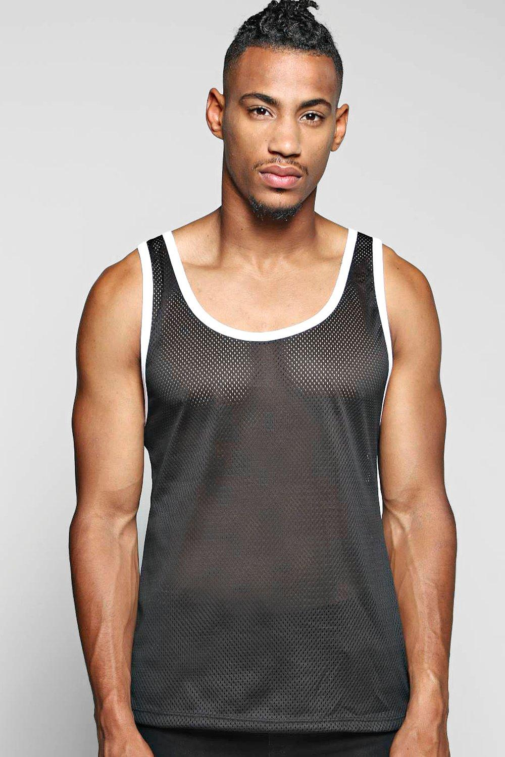 Mesh Vest With Contrast Binding