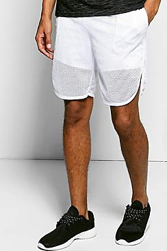 Mesh Runner Shorts With Mono Stripe
