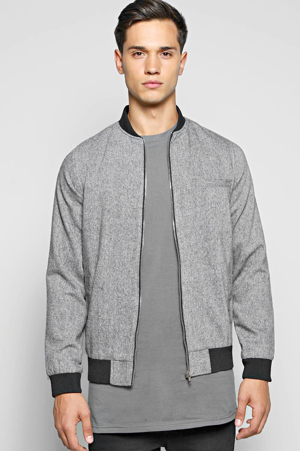 Smart Slim Fit Tweed Tailored Bomber