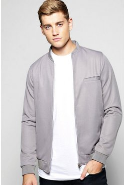 Smart Lined Pique Zip Through Jacket