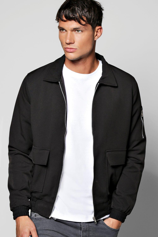 Men's Vintage Style Coats and Jackets Woven Harrington Jacket With Zip Detail Sleeve black $44.00 AT vintagedancer.com