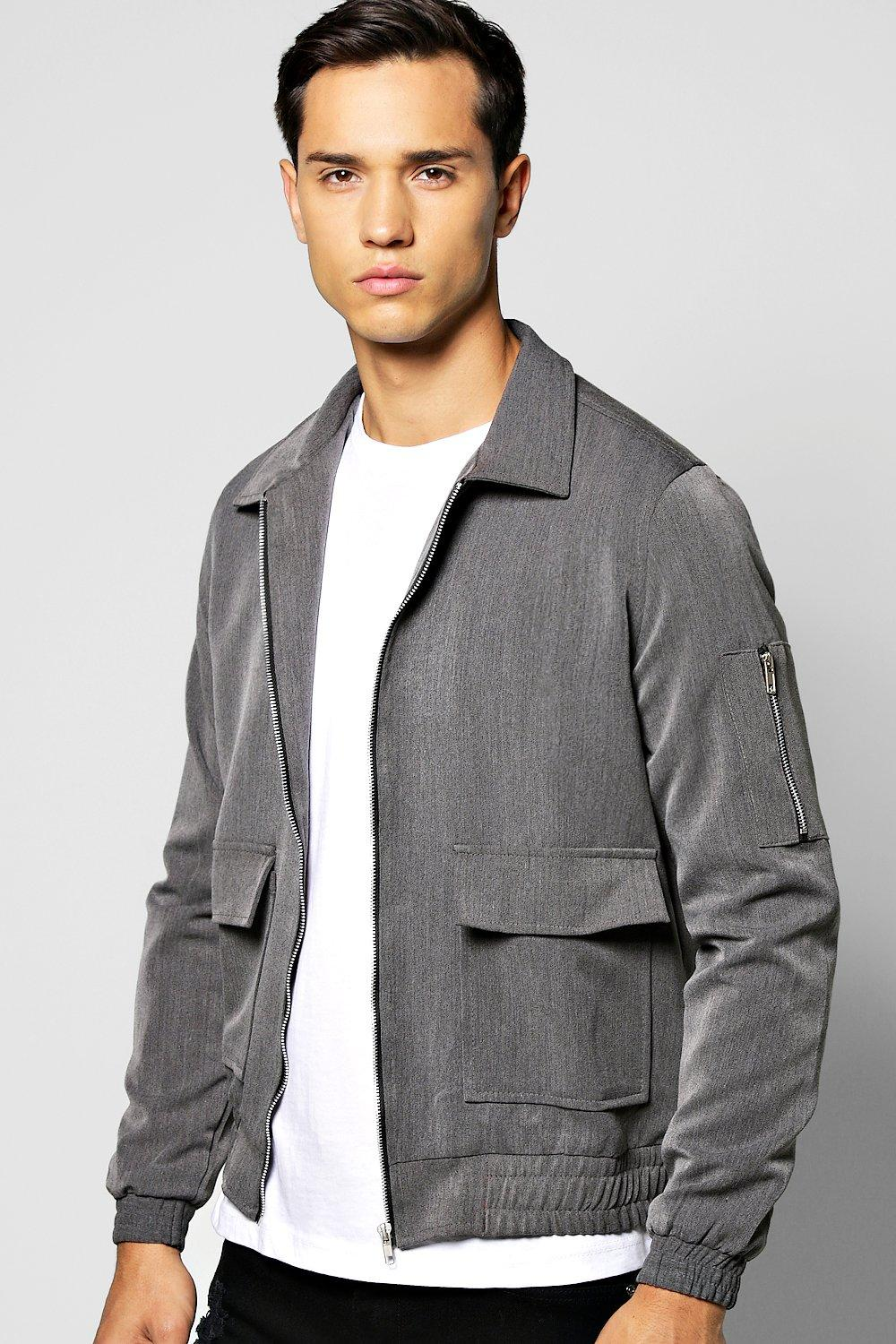Men's Vintage Style Coats and Jackets Woven Harrington Jacket With Zip Detail Sleeve grey $18.00 AT vintagedancer.com