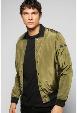 Lightweight MA1 Nylon Jacket With Poppers