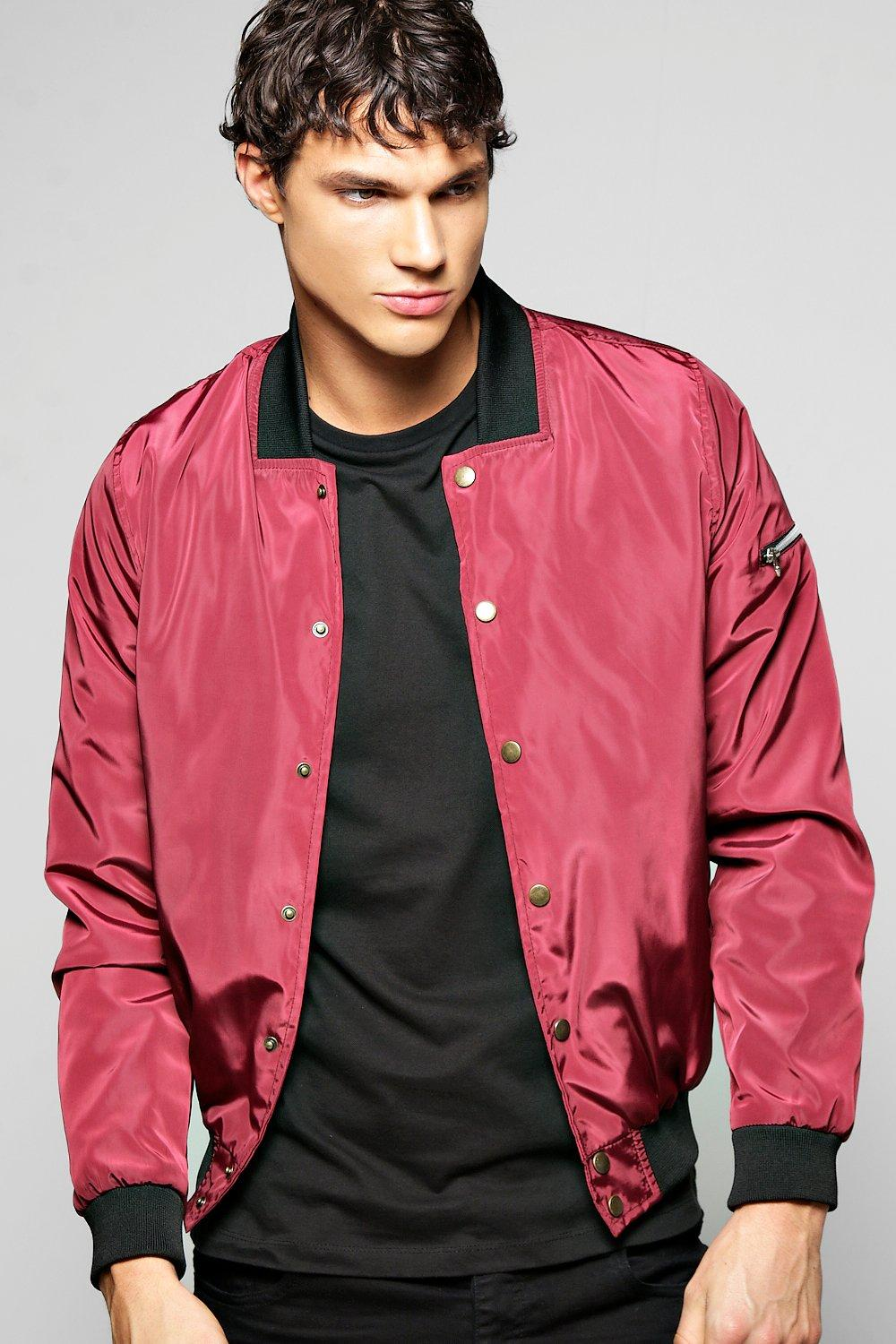 MA1 Nylon Jacket With Poppers  wine