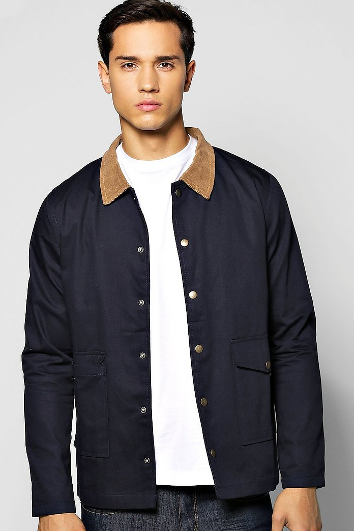 Double Pocket Zip Through Jacket With Cord Collar