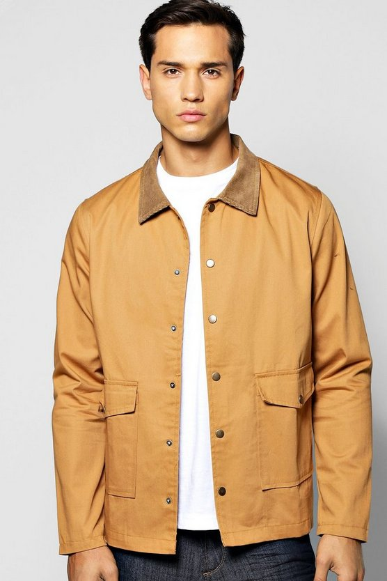 Double Pocket Jacket With Cord Collar