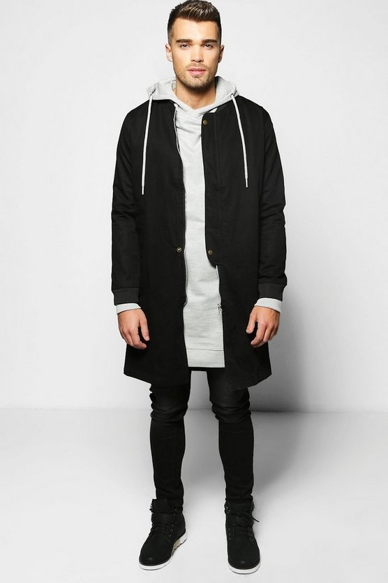 Cotton Lined MA1 Longline Bomber Jacket