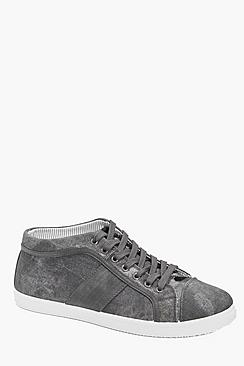 Lace Up Hi Tops With PU Detail