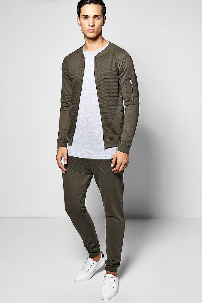 Skinny Fit Ribbed Bomber Tracksuit