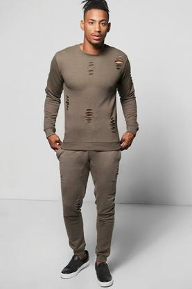 Skinny Fit Distressed Sweatshirt Tracksuit