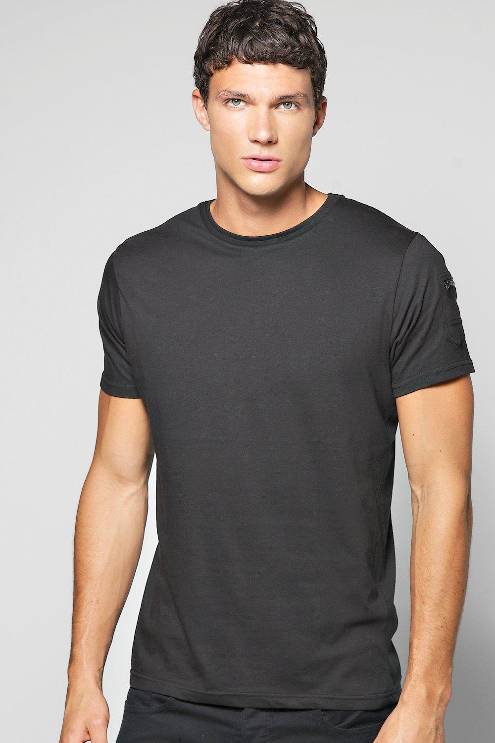 Crew Neck T Shirt With Zip Sleeve