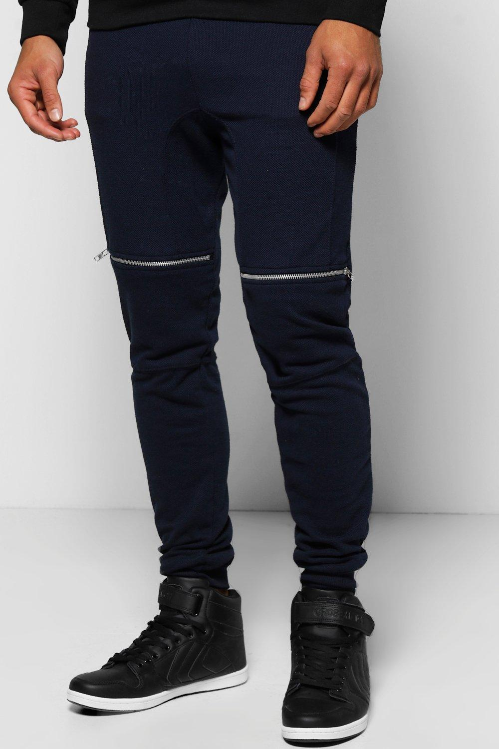 Skinny Fit Waffle Joggers With Zip Pockets
