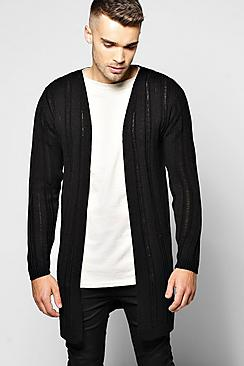 Laddered Effect Longline Open Cardigan