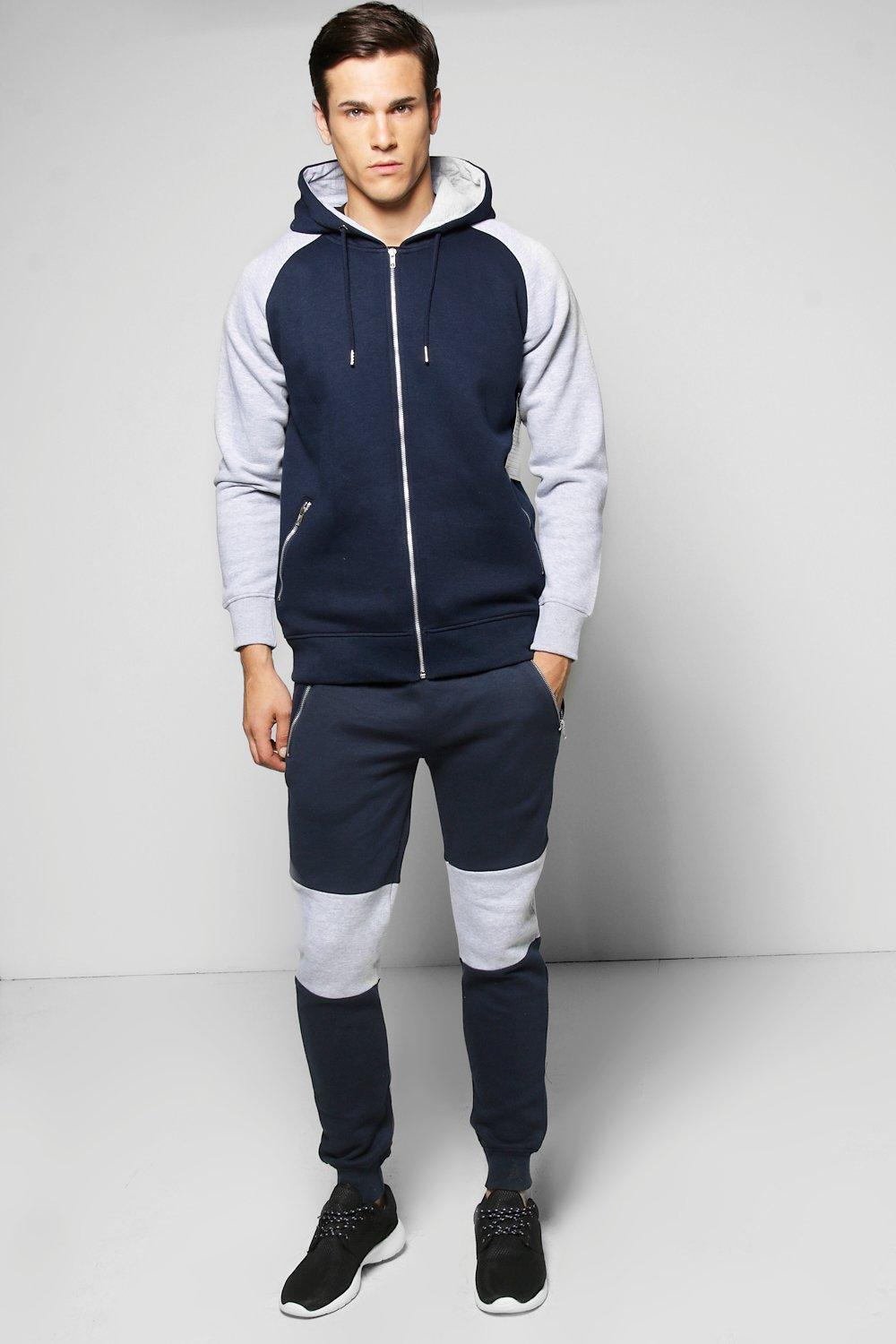 Skinny Fit Rib Panel Tracksuit