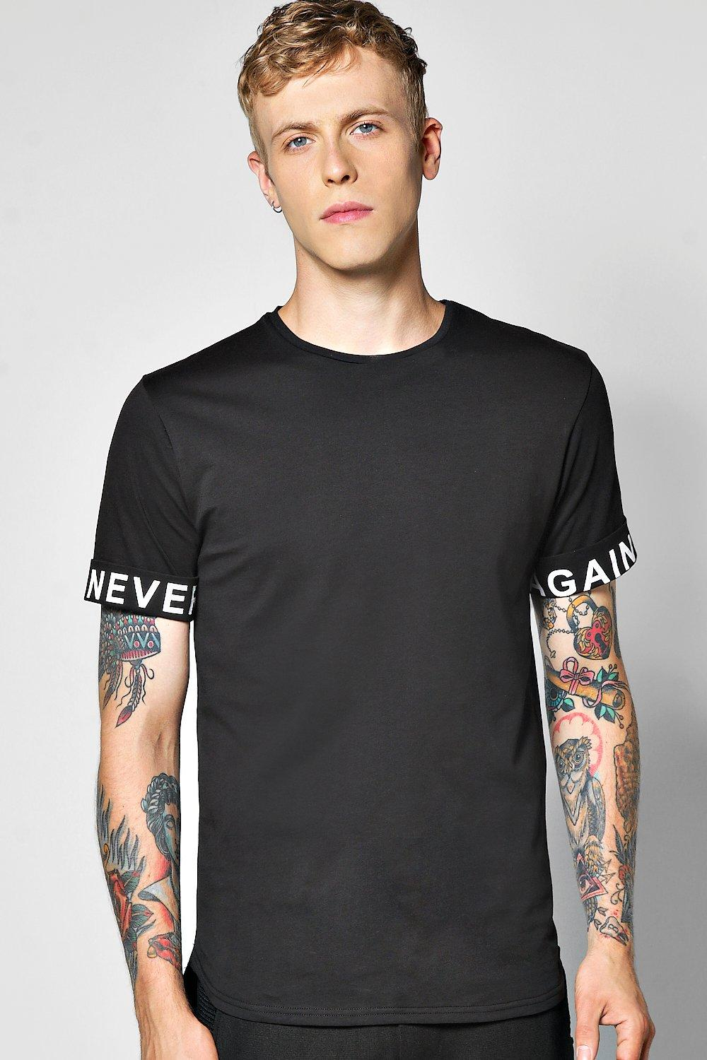 Longline Scoop Tee With Slogan Sleeves