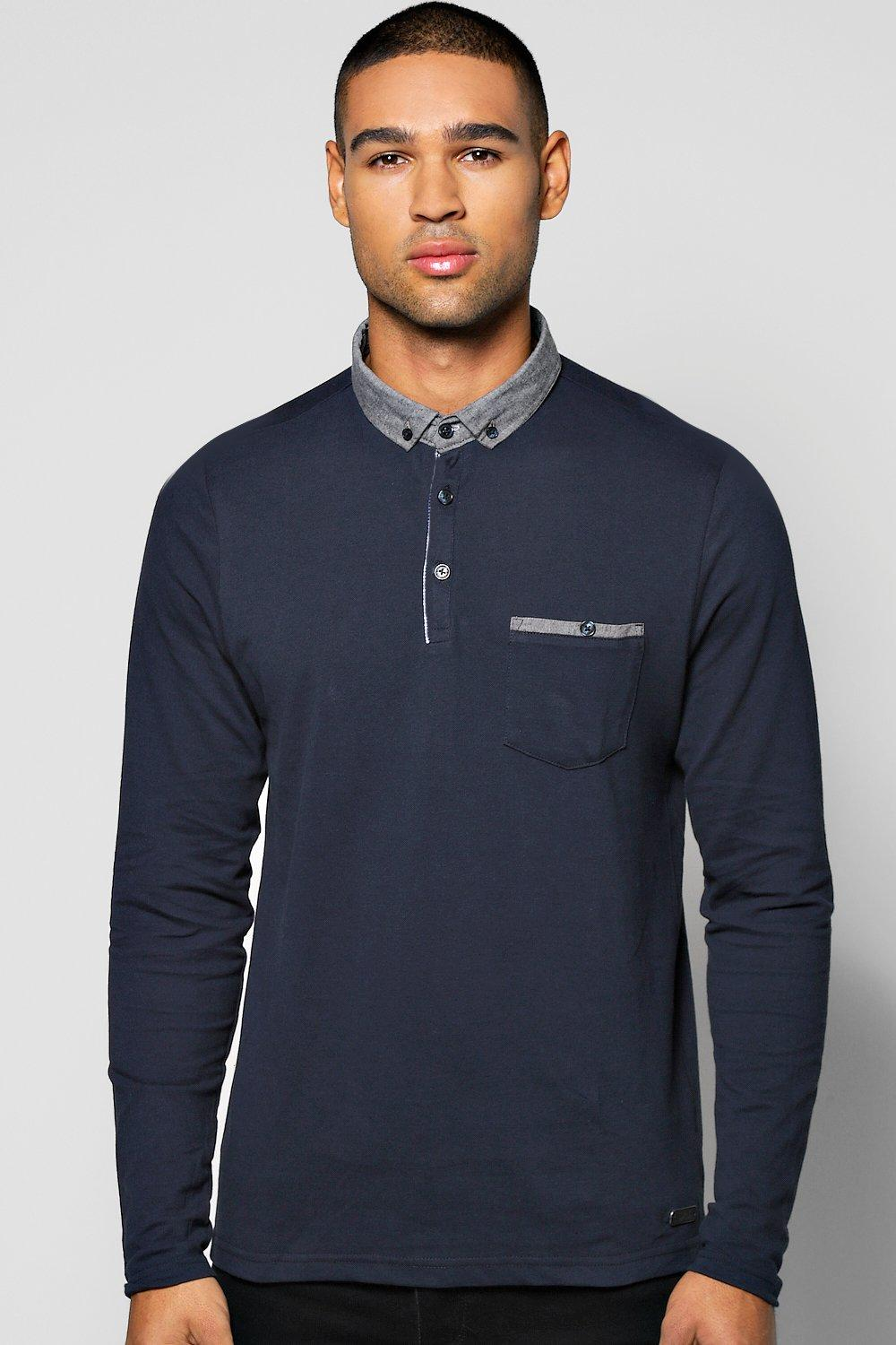 Long Sleeve Pique Chambray Collar Polo