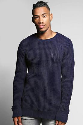 Waffle Stitch Textured Crew Neck Sweater