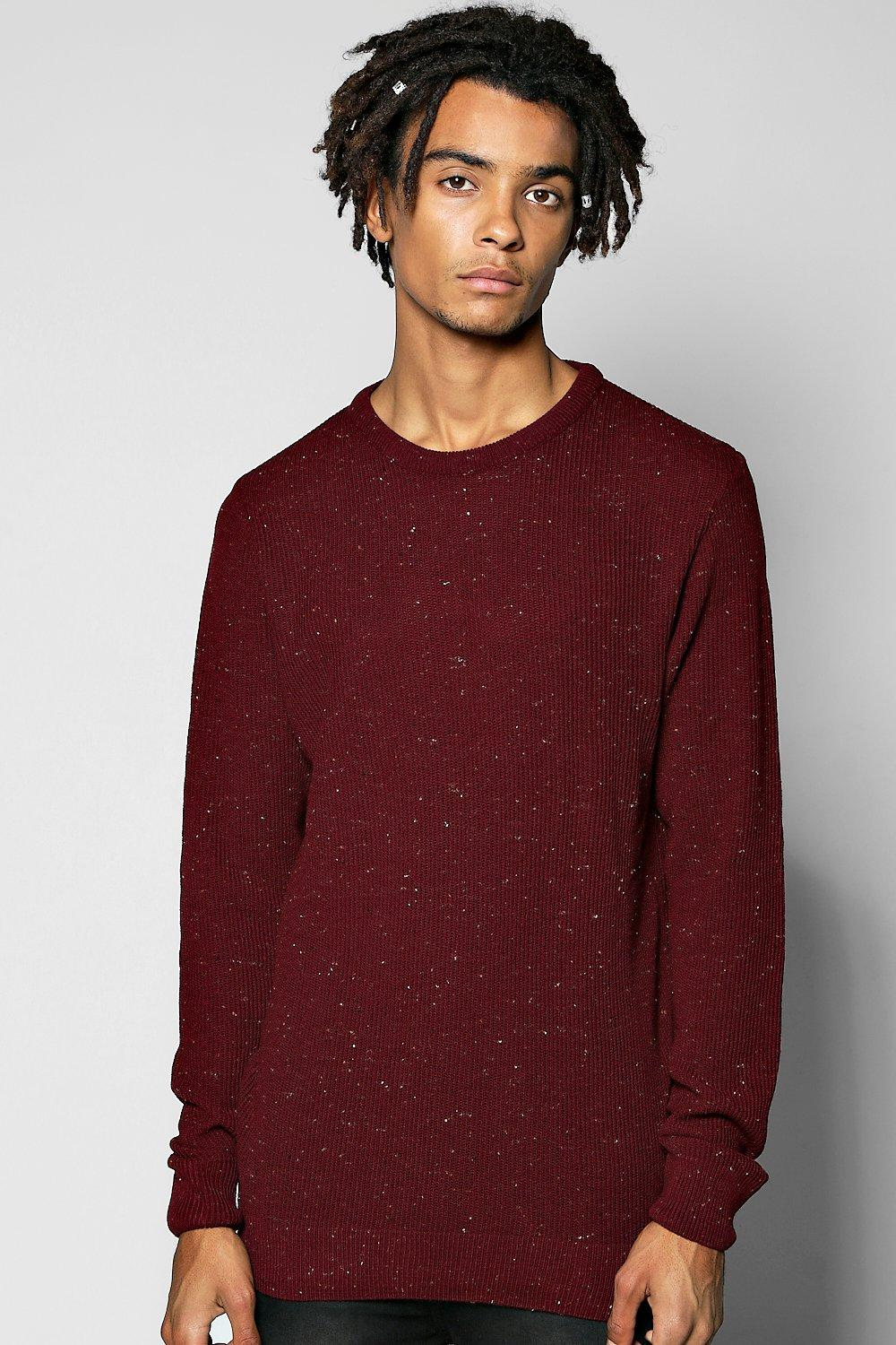 Textured Mixed Yarn Crew Neck Sweater