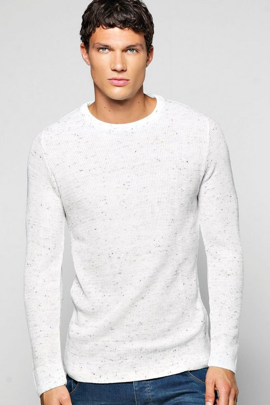 Textured Mixed Yarn Crew Neck Jumper