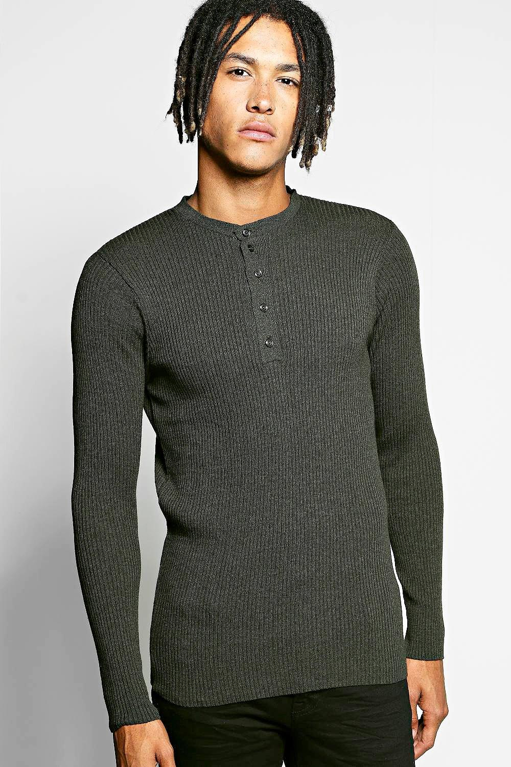 Front Button Placket Ribbed Sweater