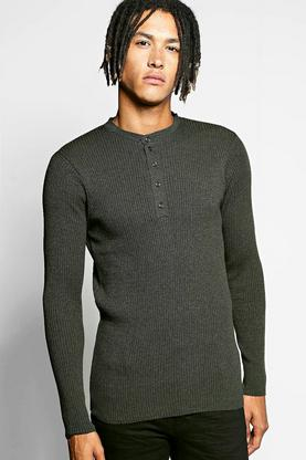 Front Button Placket Ribbed Jumper