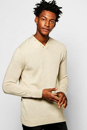 Y Neck Placket Jumper in Mixed Yarn