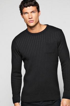 Knitted Ribbed Body Crew Neck Sweater with Patch Pocket