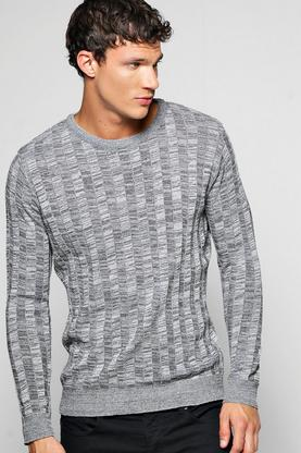 Knitted Rib Mixed Colour Crew Neck Sweatshirt