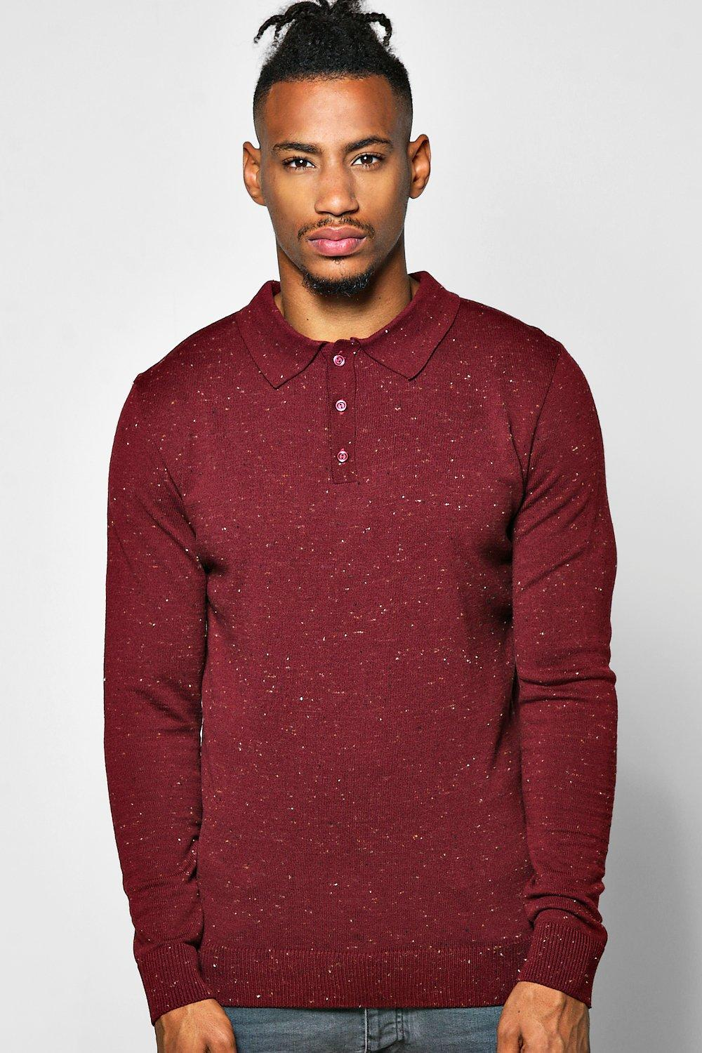 Long Sleeve Button Through Polo with Tipping