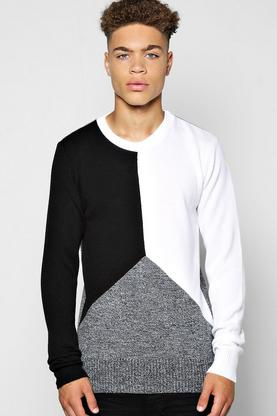 Spliced Long Sleeve Sweater