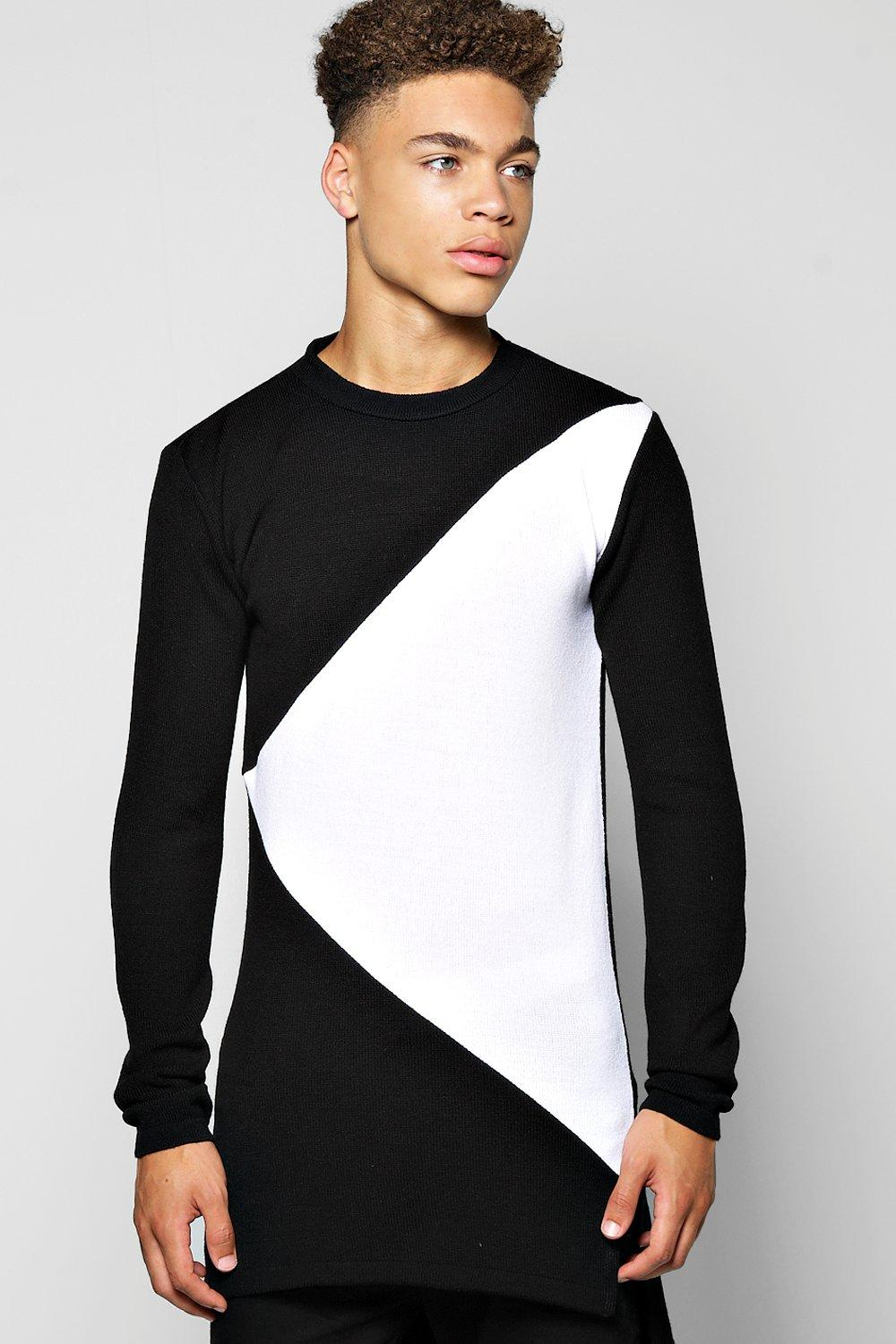 Spliced Stepped Hem Sweater