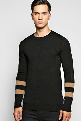 Longline Striped Sleeved Jumper With Side Zips
