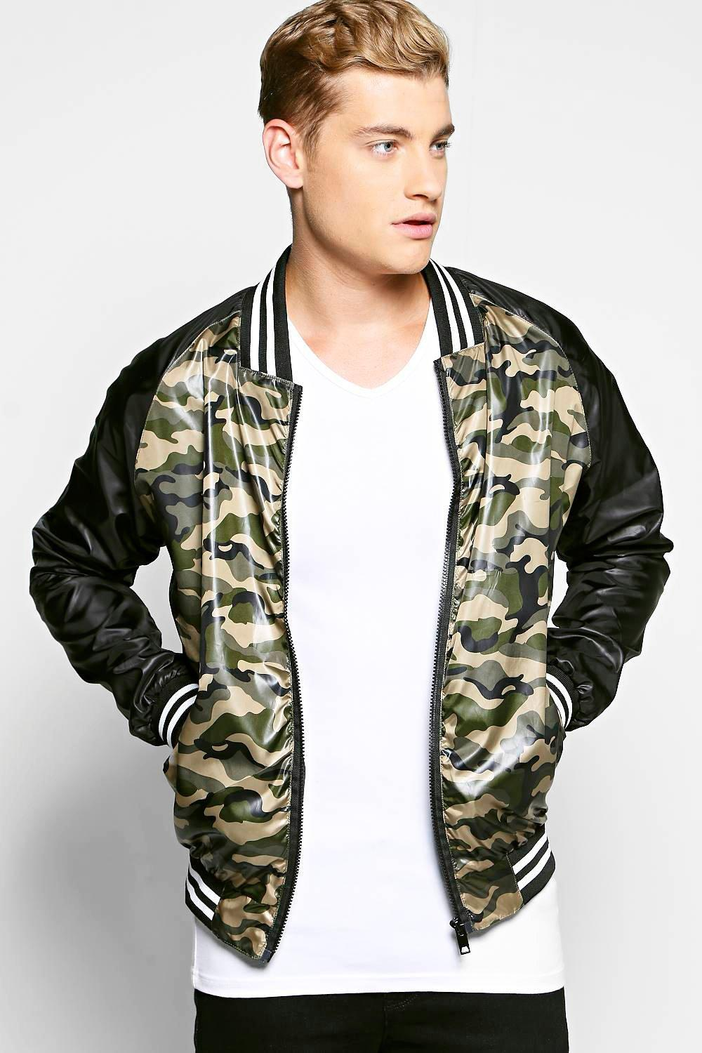 Lightweight Nylon Camo Sports Rib Lined Jacket